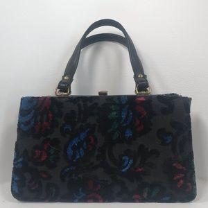 Vintage Kadin Black Floral Mini Handle Bag